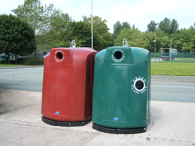 JFC Red and Green Recycling Bins